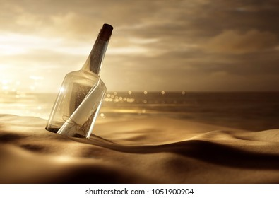 Message in a bottle at the beach (3D Rendering)