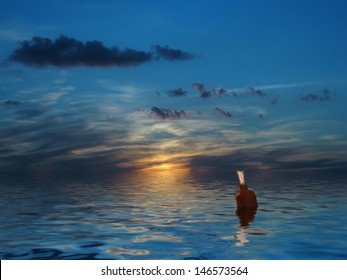 Message in a bottle, beautiful sky, sea, sunset