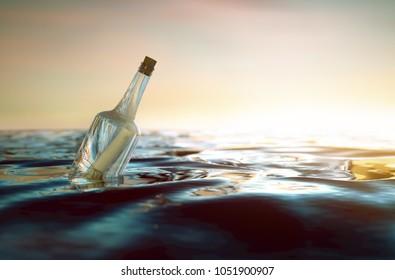 Message in a bottle in the ocean (3D Rendering)