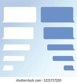 Message bubbles chat template of dialog boxes icons. Chat messages notification for smartphone illustration. Online talking conversation, dialog of messenger app.