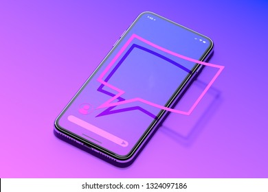 Message notification. Speech bubble on mobile phone. Social media. 3d rendering.