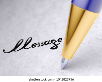 """""""Message"""" on the page. 3D illustration."""