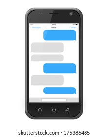 Messages on a smartphone screen in iphone style isolated on white
