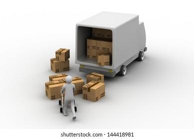 Messenger delivering a parcel in an international transport