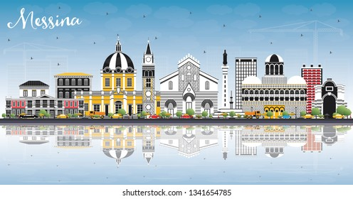 Messina Sicily Italy City Skyline with Color Buildings, Blue Sky and Reflections. Business Travel and Concept with Modern Architecture. Messina Cityscape with Landmarks.