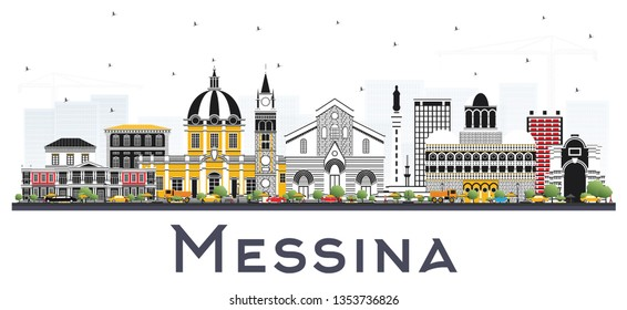 Messina Sicily Italy City Skyline with Color Buildings Isolated on White. Business Travel and Concept with Modern Architecture. Messina Cityscape with Landmarks.