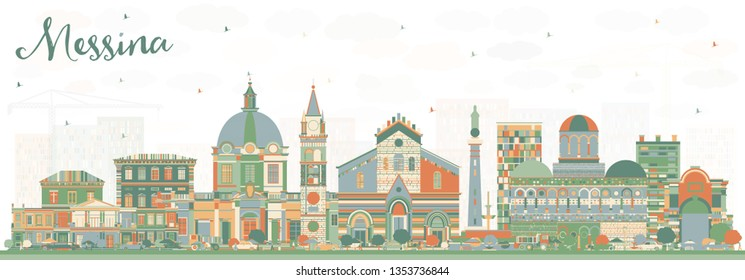 Messina Sicily Italy City Skyline with Color Buildings. Business Travel and Concept with Modern Architecture. Messina Cityscape with Landmarks.