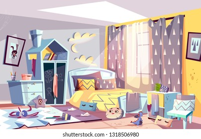 Messy bedroom of lazy child with scattered toys and dirty clothes, stained furniture and capet cartoon illustration. Children room interior in terrible chaos. Sloppy, absent minded kid concept