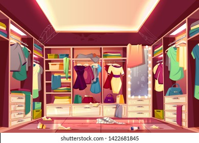 Messy womans walk in closet, dressing room interior cartoon with scattered clothing, stained walls and furniture, dirty mirror, littered floor, spider web on ceiling. Careless housewife concept
