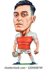 Mesut Ozil is a German professional footballer. Illustration,Caricature,Design,October,18,2018