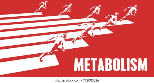 Metabolism with Business People Running in a Path 3d Render
