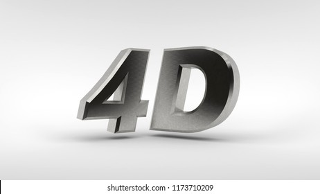 Metal 4D logo isolated on white background with reflection effect. 3d rendering