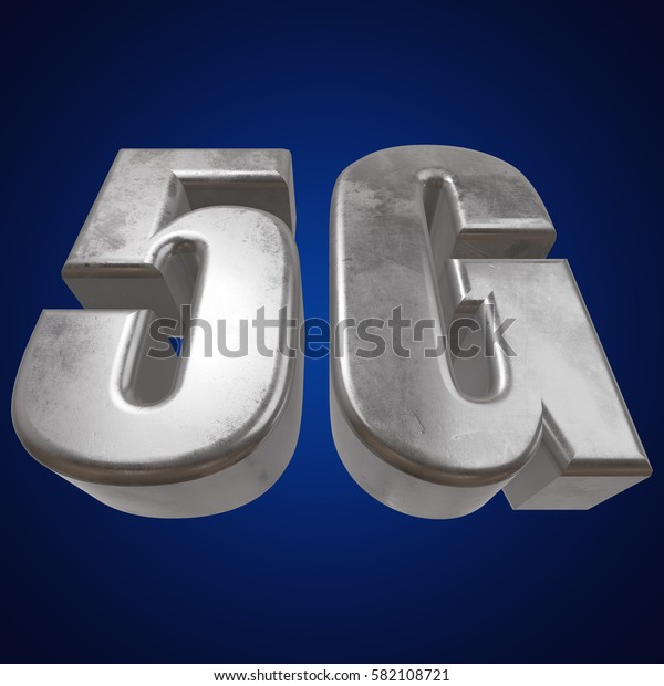 Metal 5G icon on blue background. 3D render letters