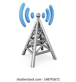 Metal antenna symbol isolated on white