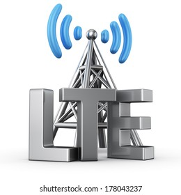 Metal antenna symbol with letters LTE on white