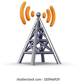Metal antenna symbol with orange radio waves isolated on white background