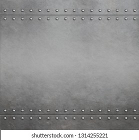 Metal armor background with rivets 3d illustration