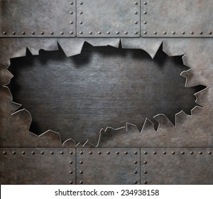metal armor with torn hole steam punk background
