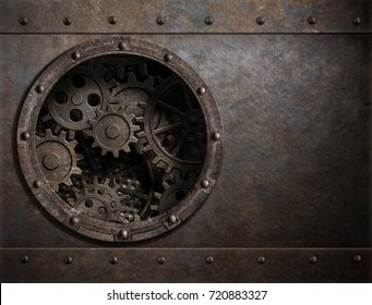 metal background with porthole and gears inside 3d illustration