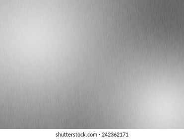 Metal background or texture of brushed steel plate with reflections and shine