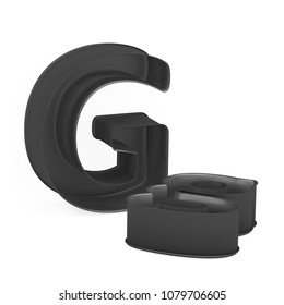 Metal baking anodized nonstick or PTFE cake pan set of capital and lowercase like letters G on white background, 3D rendered font image
