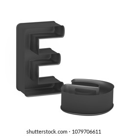 Metal baking anodized nonstick or PTFE cake pan set of capital and lowercase like letters E on white background, 3D rendered font image