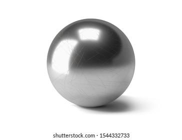 metal ball 3D model. chrom circle 3d render.  single bearing 3d image.