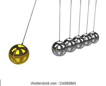 The metal balls on a white background