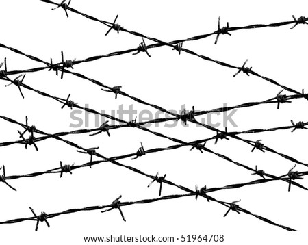 Metal Barbed Wire Fence Protection Isolated Stock Illustration