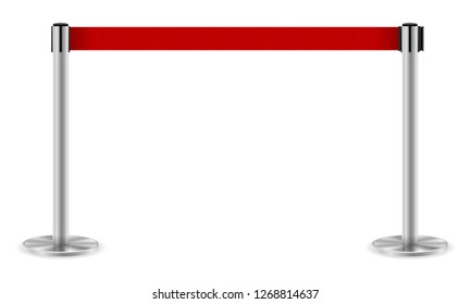 metal barrier with a belt to control the queue stock illustration isolated on white background