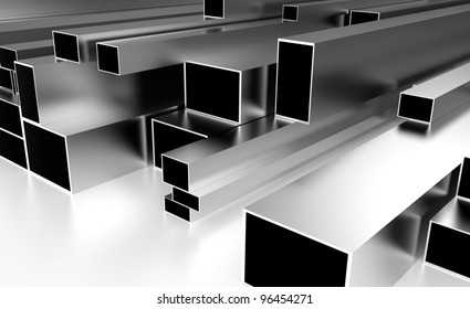 metal beams resting on a white top