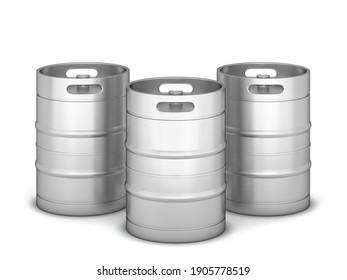 Metal beer keg. 3d illustration isolated on white background