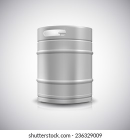 Metal beer keg with grained and shadow,  illustration.