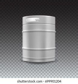 Metal beer keg with grained and shadow on transparent background, 3D illustration.