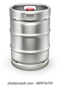 Metal beer keg with the lid on white background - 3D illustration
