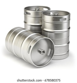 Metal beer kegs isolated on white background. 3d illustration.