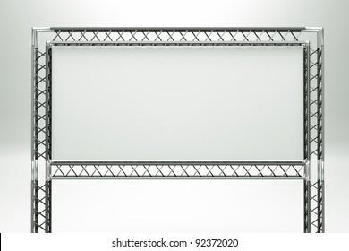 a metal billboard on grey