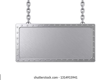 Metal Blank Sign Hanging on a Chain on a white background. 3d Rendering
