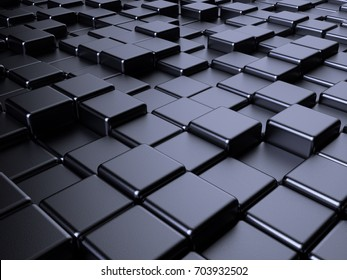 Metal box abstract background. 3d rendering of cube shapes blockchain illustration
