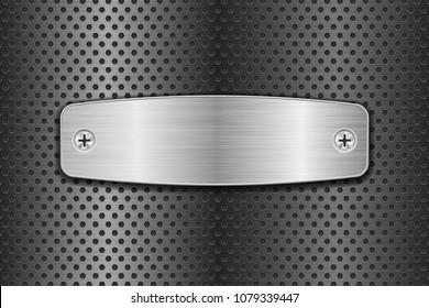 Metal brushed plate on perforated background. 3d illustration. Raster version