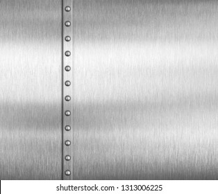 Metal brushed steel or aluminum background with rivets 3d illustration