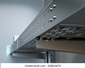 Metal cable tray close up