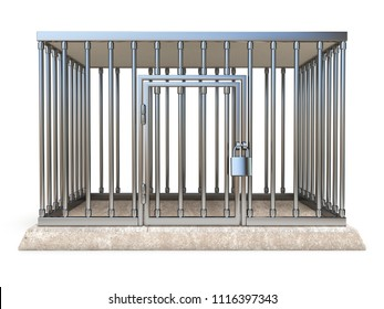 Metal cage with lock front view 3D render illustration isolated on white background