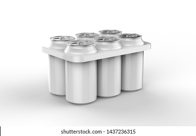 Metal cans in a 6 pack package isolated on white background, 3d illustration.