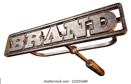 A metal cattle brand with the word brand as the marking area on an isolated background