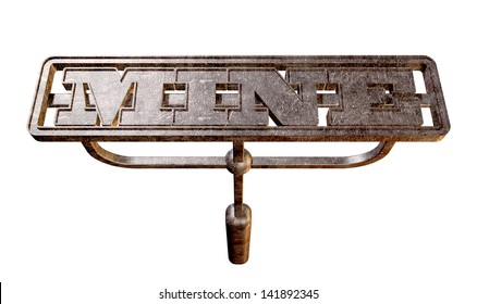 A metal cattle brand with the word mine as the marking area on an isolated background