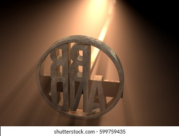 A metal cattle branding iron with the word brand as the marking area backlit by a bright light - 3D render