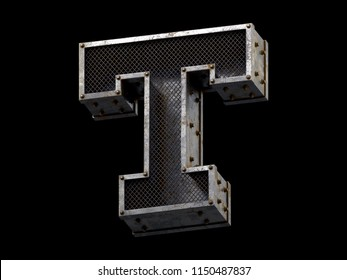 Metal cell font. 3d rendering