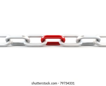 Metal chain with one red link