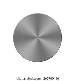 Metal circle button or plate on white background